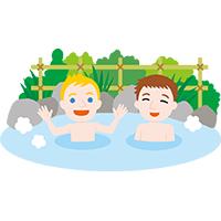 温泉に入る外国人観光客 クリップアート プリントアウトファクトリー Myricoh