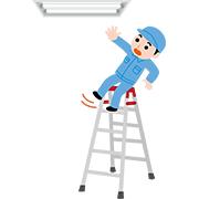 蛍光灯を交換して脚立から落ちる作業員 | クリップアート | プリント ...